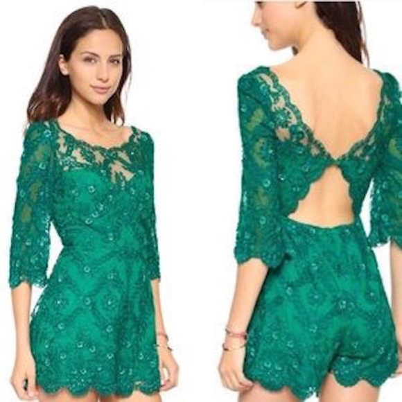 5775e7531659 FREE PEOPLE SONGBIRD LACE BEADED EMERALD ROMPER 2